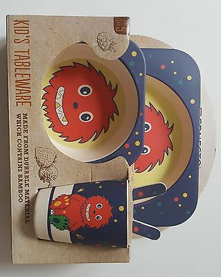 Baby Kid Child Bamboo Fiber Plate Bowl Spoon Fork Cup Picnic Charm Tableware Set
