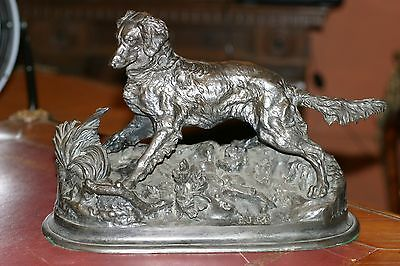 After P.g.mene, French Patinated Bronze Statue Dog, S. P.g.m1880 Large