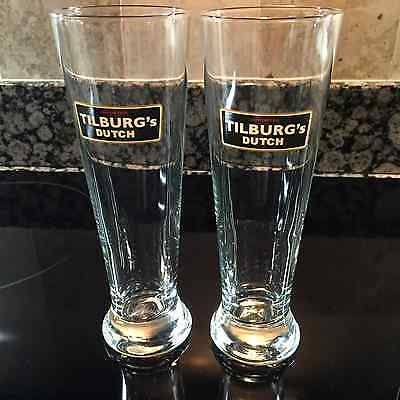 Tilburg's Dutch Imported New Pair Of Brown Ale Beer Glasses