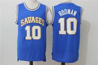 Dennis Rodman # 10 High School OKLAHOMA SAVAGES Basketball Jersey STITCHED Blau