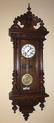 BEAUTIFUL GERMANY ANTIQUE WALL CLOCK QUARTER STRIKE circa 1890