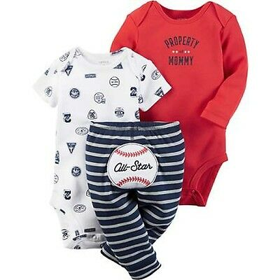 New WT Carter's Baby Boy 3 Piece Summer / Fall Tops & Pants Set  Size 6 Months