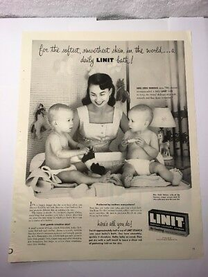 Vintage Ad Linit Laundry Starch, Beautiful Women & Her 2 Twin Sons from 1955