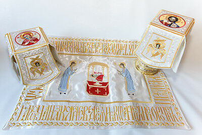 Chalice Covers  veils  Embroidered white color, with the icon of Holy Lamb