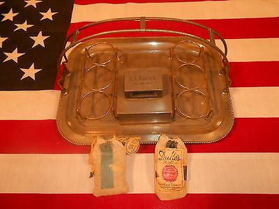 ANTIQUE 1920's SILVER PIPE HOLDER SMOKING TRAY HUMIDOR with TOBACCO POUCHES