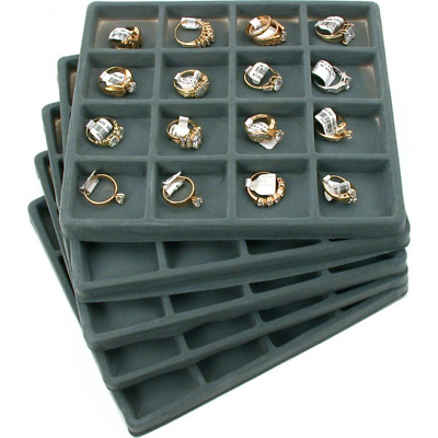 Jewelry Organizer Display with 16 Compartment Gray Flocked Tray Inserts set of 5