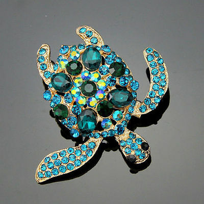 Gorgeous Gold Plated Peacock Blue Crystal Turtle Statement Brooch