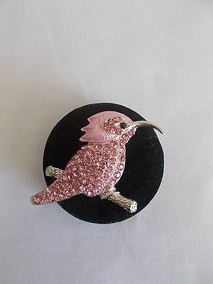 Silver Plated Pink Crystal Rhinestone Humming Bird  Pin Brooch