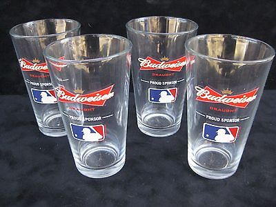 (4) Budweiser Draught MLB Pint Beer Glasses / Never Used