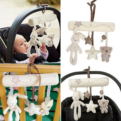 Newborn Baby Pram Bed Bells Soft Hanging Toys Animal Handbells Rattles