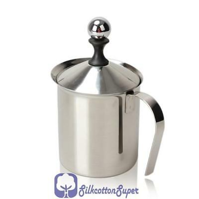 Milk Frother Stainless Steel Double Mesh Coffee Latte Hot Chocolate Milk 800ml