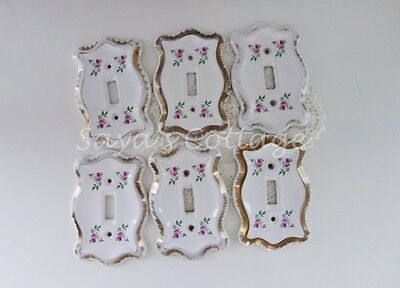 Vintage 1960's Shabby Cottage Chic Floral Rose Ceramic Single Light Cover Switch