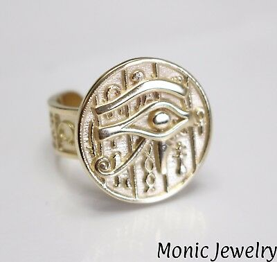 Evil Eye Protection Horus Magic Amulet Gold 10k Ring Adjustable Size 8.5 - 9.5