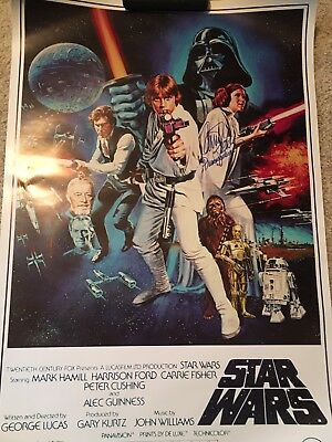 "Carrie Fisher Signed Star Wars Full Size Poster-RARE ""Princess Leia"" inscription"