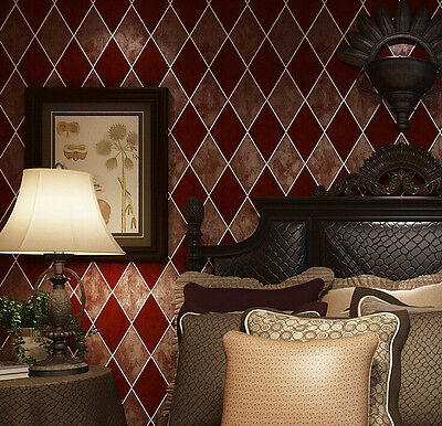 American-Country/Rustic-Rhombus-3D-wallpaper-Modern-Flocking-non-woven-bed wall
