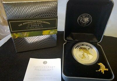 2004 One Dollar *kookaburra*-*gold Gilded* Silver Proof*- 1 Oz Silver-Perth Mint
