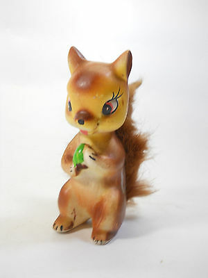 Hand Painted Vintage Japan Miniature Collectible Ceramic Brown Squirrel Figurine