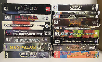 Lot of 16 PC Games Witcher 2 Fallout 3 Devil May Cry 3 DMC Doom 3 Used w/ Keys