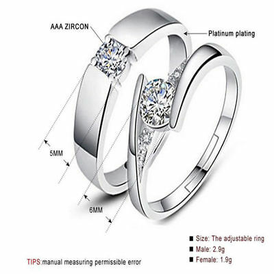 Stainless Steel Heart Lover Couple Band Wedding Engagement Ring Silver