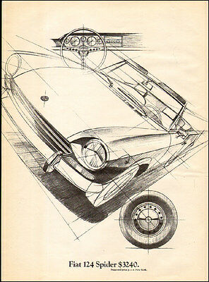 1969 vintage Italian Sports Car AD, FIAT 124 Spider  cool drawing ! 052115