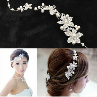 Women's Crystal Pearls Flower Wedding Bridal Hair Pin Hairpin Clip Headband Comb