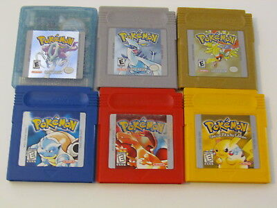 Pokemon Yellow Blue Red Gold Silver Crystal AUS ALL Genuine NINTENDO Save WORKS