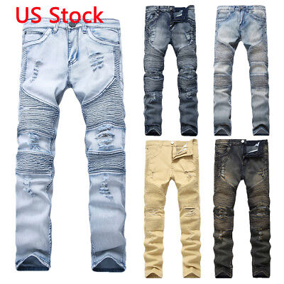 Men's Skinny Ripped Destroyed Distressed Jeans Plain Stretch Tapered Leg Pants