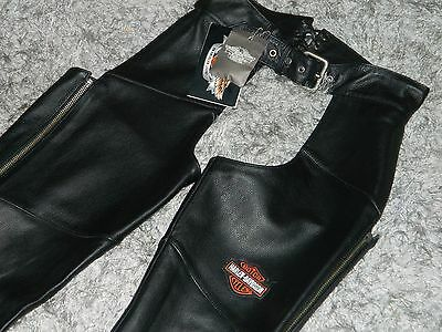 HARLEY DAVIDSON Women's Black Leather Chaps Size Small NEW w/ TAGS WOW!