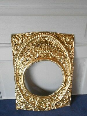 Antique French repousse TOLE BRASS Floral PLAQUE from a Clock Mantel