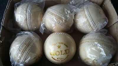 CRICKET GOLD BRAND 5.1/2 OZ WHITE PURE LEATHER BALLS ×6 ° (unbeatable price.