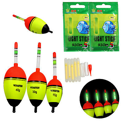 Night Glowing Fishing Float 5pcs EVA float+10pcs Glow Light Luminous Stick