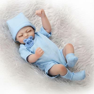 "10"" Mini Full Body Vinyl Reborn Doll Lifelike Newborn Baby Girl Magnet Pacifier"