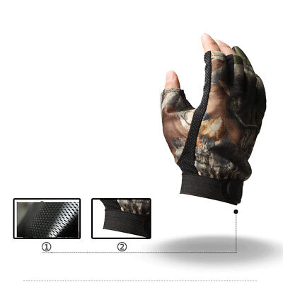 Anti-Slip 3 Finger Cut Fishing Gloves Protector Camouflage Hunting Gloves 1 Pair