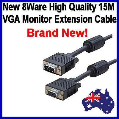 New 8ware VGA Extension Cable High Quality Filtered HD15M - Male to Female