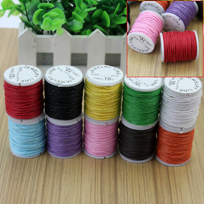 10x Mixed Colors-Waxed Cotton Cord Strings For Macrame Jewelry Beads DIY Making