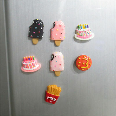 1PC Resin Pencil Fridge Magnet Cake Bread Ice cream French fries Food Kitchen
