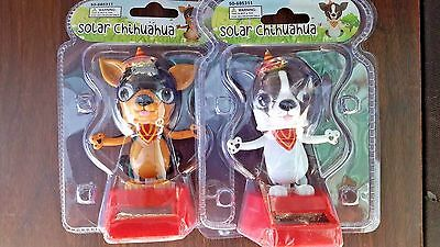 3pc Solar Power Dancing Chihuahua Puppies Dog Bobble Head Toy Gift