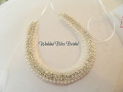 Wedding Bridal Horseshoe Charm -Ivory Satin Rhinestone Embellished - Gift Pouch