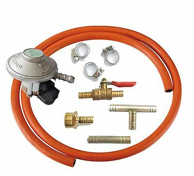 21mm LPG GAS 30mbar Regulator With Hose Pipe And Clips + Connectors BARBECUE KIT