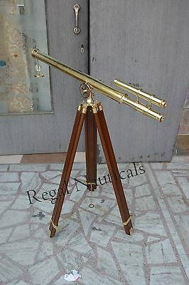 Nautical-Brass-Telescope-Marine-Navy-Double-Barrel-With-Wooden-Tripod-Stand
