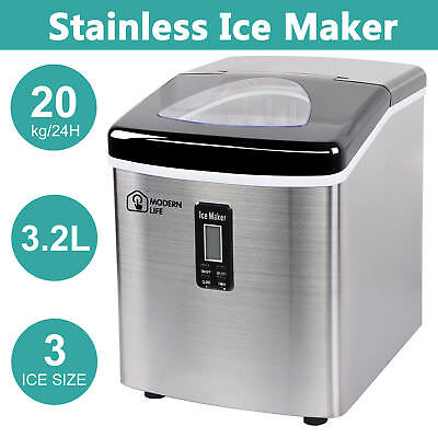 New Ice Cube Maker Machine 3.2L 18Kg LCD Screen Auto Fast Benchtop Portable Home