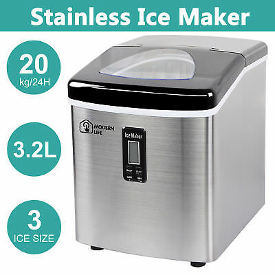New Ice Cube Maker Machine 3.2L 20Kg LCD Screen Auto Fast Benchtop Portable Home