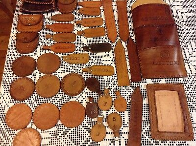 Collection Of Hand Tooled Vintage Leather Key Rings Bookmarks Purse Coaster