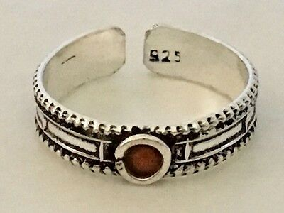 Genuine 925 Sterling Silver Toe Ring Adjustable Red Coral Gemstone Oxidise Stone