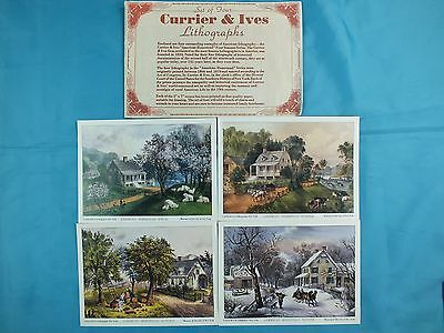 """SET OF 4 CURRIER & IVES LITHOGRAPHS CARD PRINT 5"""" x 7"""""""