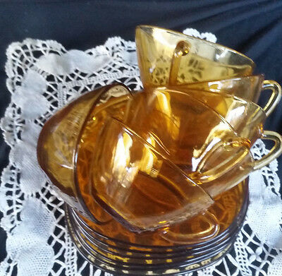 Vintage Vereco France Glass Cups and saucers Amber glass Duralex coffee