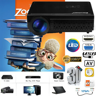 WIFI Android 6.0 Bluetooth Projector 4K 1080P Home Theater HDMI/USB/TF/AV/VGA UK