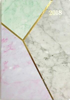 2018 A5 Carnegie Diary Week to Opening - Marble Pattern