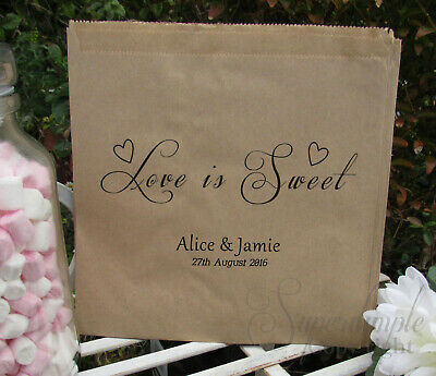 Personalised wedding sweet bags candy cart favour white brown kraft paper LS61