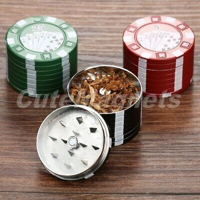 40x27mm Zinc Alloy 3 layers Poker Chips Style Tobacco Grinder Herb Spice Crusher